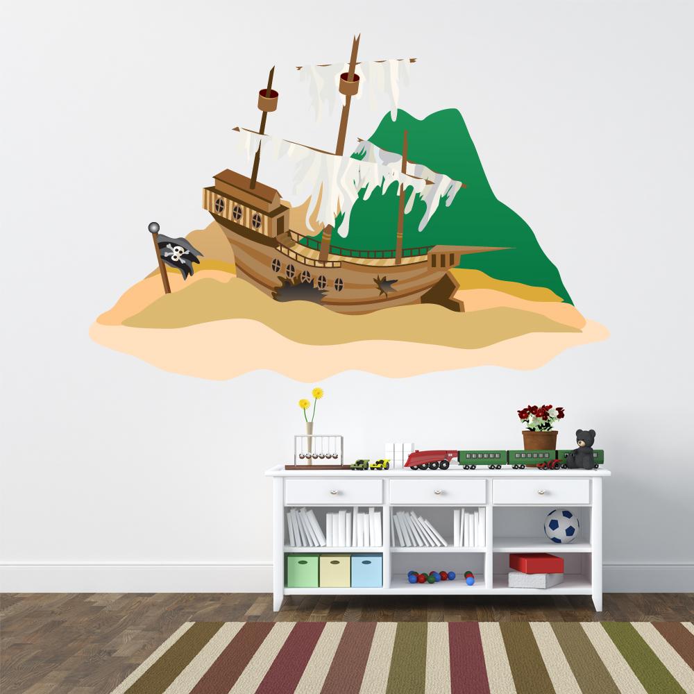 Wandtattoos folies wandsticker piratenschiff for Wandtattoo piratenschiff