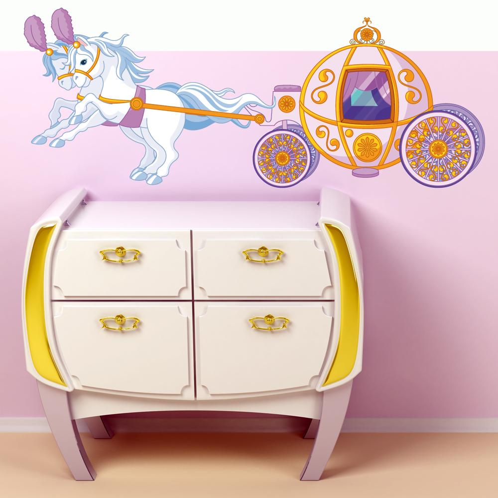 Wandtattoos folies : Wandsticker Prinzessinnen Kutsche