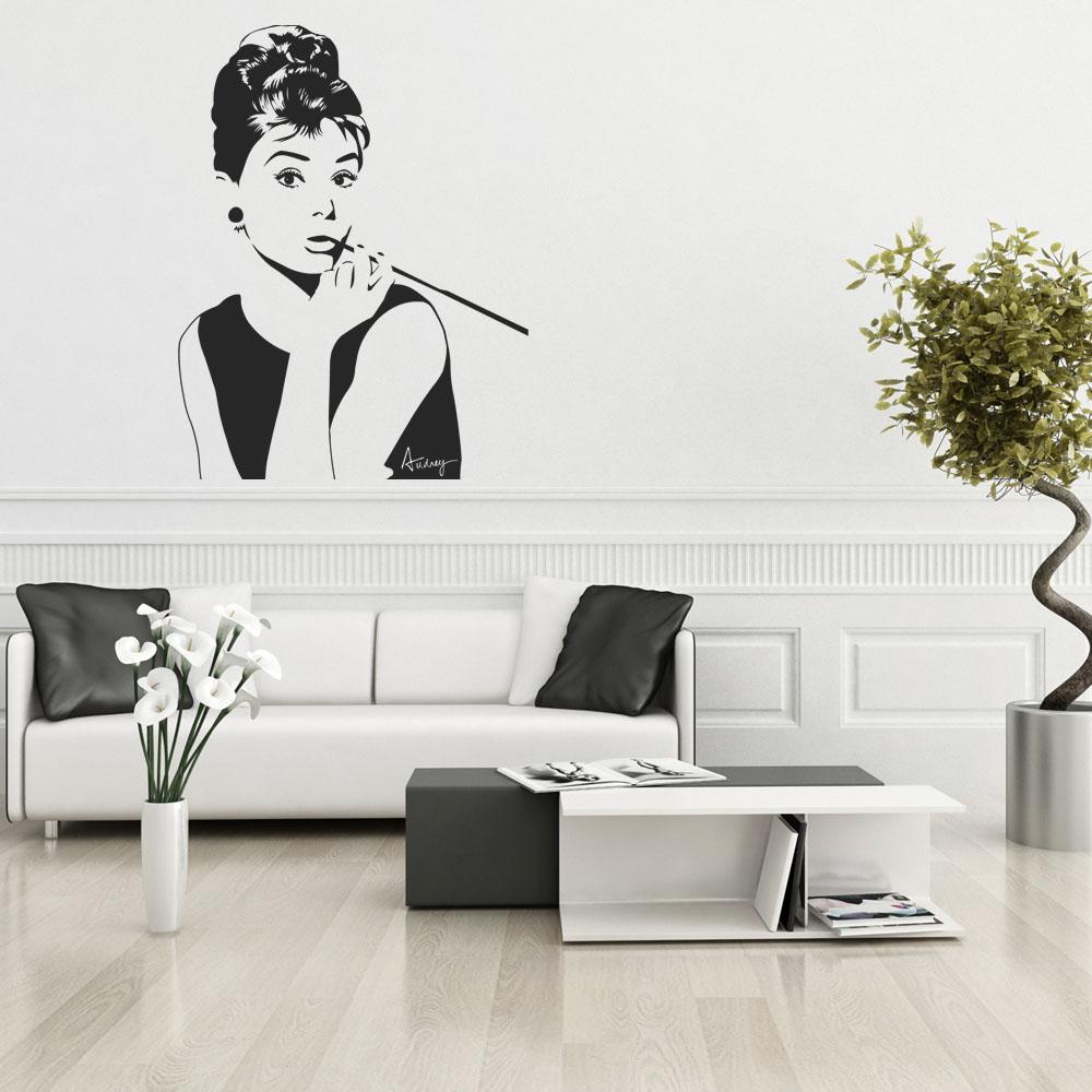 wandtattoos folies wandtattoo audrey hepburn. Black Bedroom Furniture Sets. Home Design Ideas