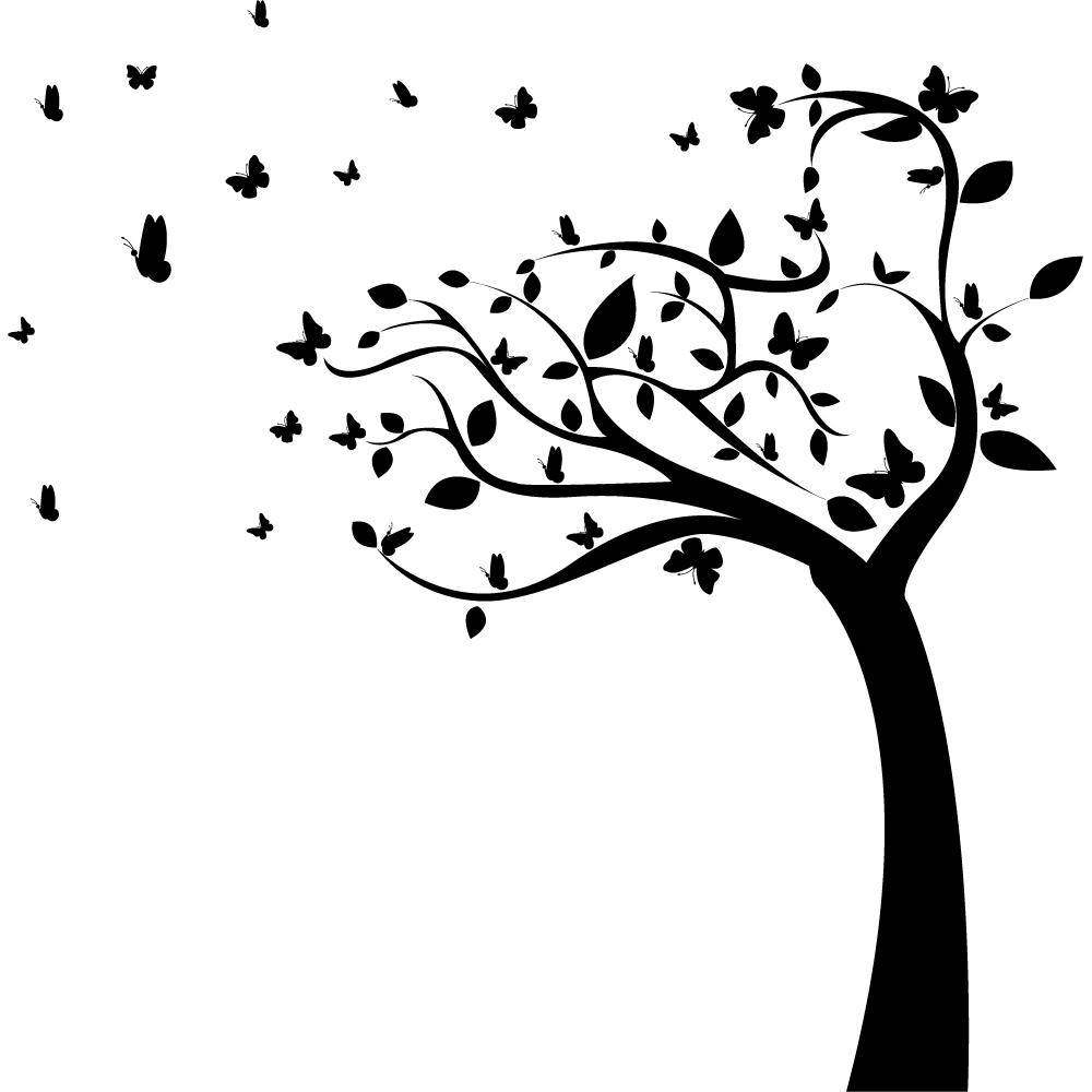 Wandtattoo Baum Schmetterlinge