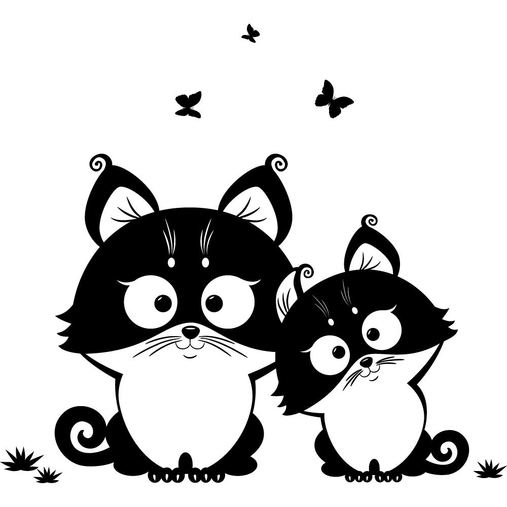 Sympathisch Wandtattoo Katzen Foto Von