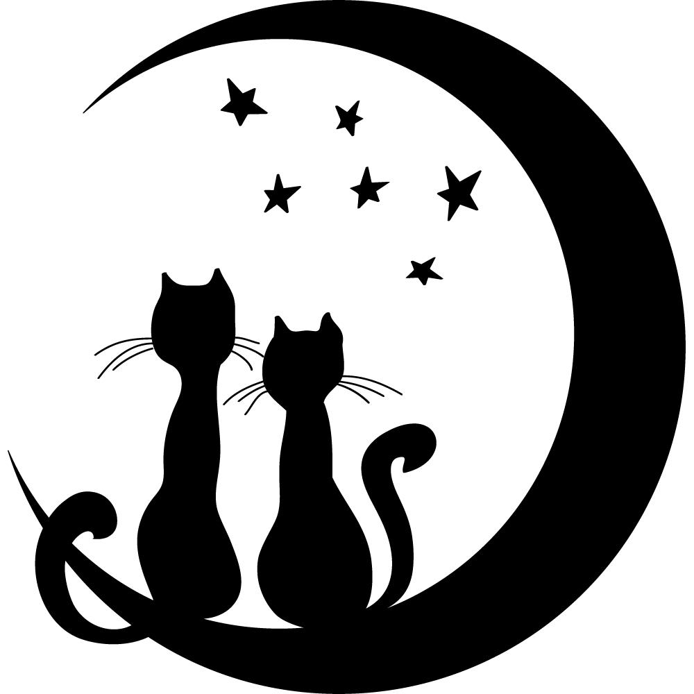 Wandtattoos folies : Wandtattoo Katzen auf dem Mond