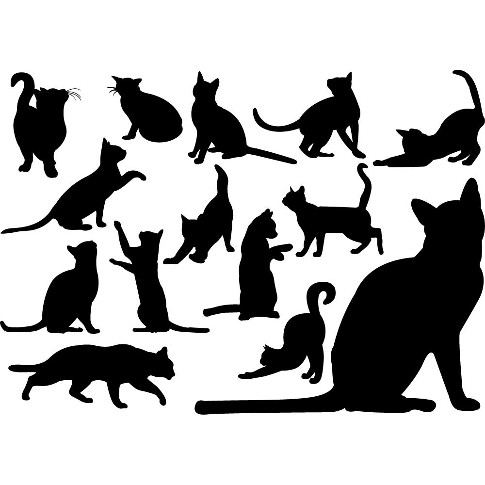 Brilliant Wandtattoo Katzen Dekoration Von Set