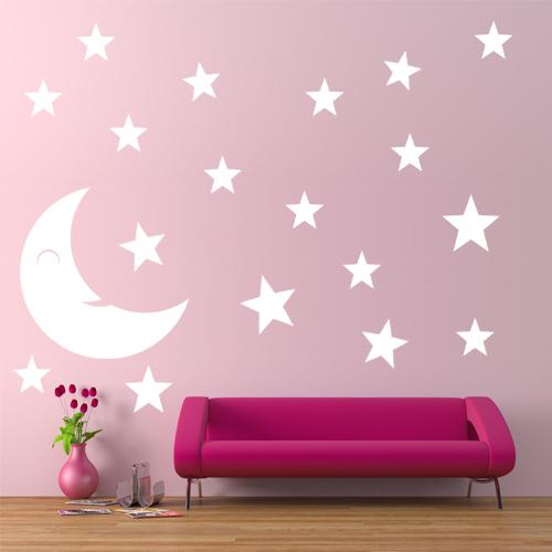 Wandtattoos folies : Wandtattoo Mond & Sterne Set