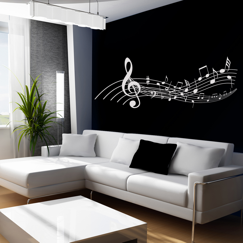 Wandtattoos folies wandtattoo notenzeilen for Vinilos decorativos grupos musicales