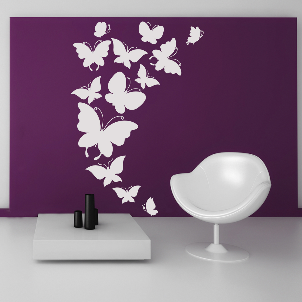Wandtattoos folies wandtattoo schmetterling set for Donde venden stickers para pared