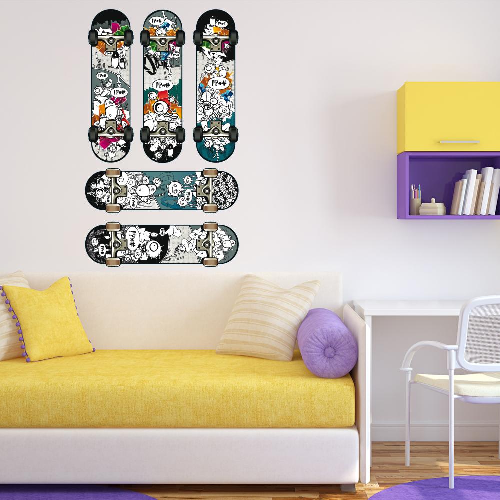 Wandtattoos folies wandtattoo skateboard set for Wandtattoo teenager